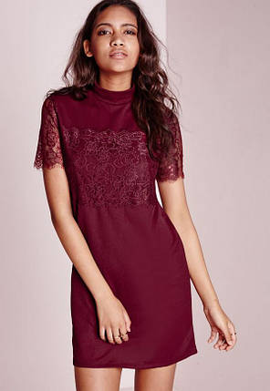 Бордовое платье прямого кроя с кружевом Missguided, фото 2