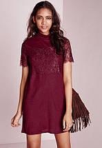 Бордовое платье прямого кроя с кружевом Missguided, фото 3
