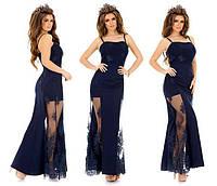 Шикарное вечернее платье на тонких бретелях с дорогим кружевом (6 цветов)
