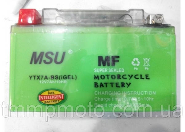 Мотоаккумулятор 7A/12V MSU Gel 18го года, фото 2