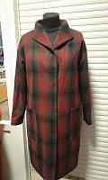 Пальто стильное в клетку серо-красное