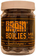 Бойлы Brain Squid Octopus (кальмар/осьминог) Soluble 200 gr, mix 16-20 mm