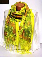Палантин кашемировый желтый с цветочным принтом