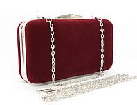 Велюровый клатч Rose Heart 09829-1 бордовый, сумочка на цепочке