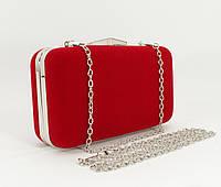Велюровый клатч Rose Heart 09829-1 красный, сумочка на цепочке