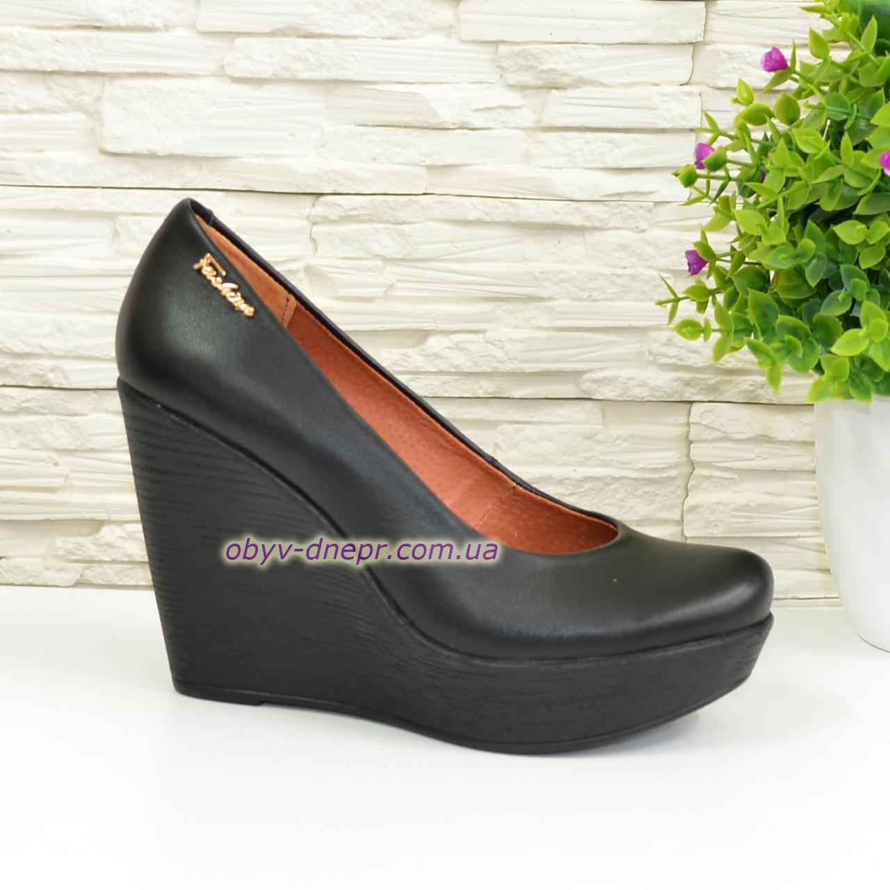 Кожаные женские туфли на устойчивой высокой платформе