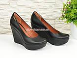 Кожаные женские туфли на устойчивой высокой платформе, фото 2