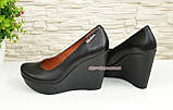 Кожаные женские туфли на устойчивой высокой платформе, фото 3