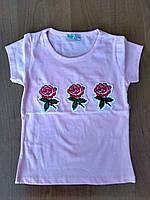 """Футболка на девочку """"Роза"""" нежно-розового цвета"""