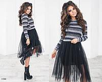 Платье фактурный трикотаж+евросетка 42,44,46, фото 1