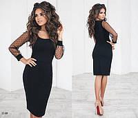 Платье облегающее вечернее креп-дайвинг+сетка с флоком 42,44,46, фото 1