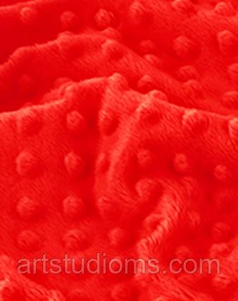 Ткань. Плюш minky красный. Отрез 50х40см