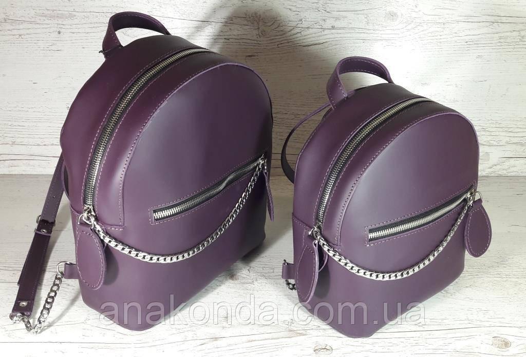 114-XL Натуральная кожа РАЗМЕР XL Городской рюкзак Кожаный рюкзак чфиолетовый Рюкзак женский баклажан кожаный