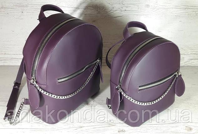 114-XL Натуральная кожа РАЗМЕР XL Городской рюкзак Кожаный рюкзак чфиолетовый Рюкзак женский баклажан кожаный, фото 2