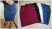 Женская модная джинсовая юбка с декором жемчугом, фото 1
