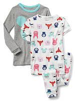 Детская трикотажная пижама со зверюшками Gap для девочки