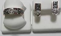 Комплект Мотив из серебра с узором и камнями , фото 1