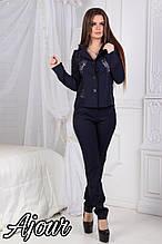 Женский костюм, костюмка+ гипюр, р-р С; М; Л; ХЛ (тёмно-синий)