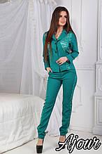 Женский костюм, костюмка+ гипюр, р-р С; М; Л; ХЛ (бирюзовый)