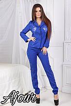 Женский костюм, костюмка+ гипюр, р-р С; М; Л; ХЛ (электрик)