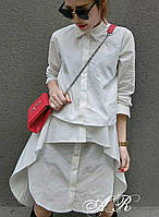 Модное, женское, коттоновое платье-рубашка оригинального кроя. РАЗНЫЕ ЦВЕТА