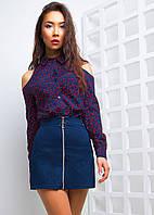 2f1bc6839a0 Купить костюм юбка мини джинс на змейке +рубашка АМС-1802.062 ...