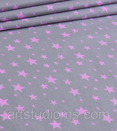 """Тканина. Бавовна """"зоряна розсип"""" рожеві зірки на сірому тлі. Відріз 50х40см"""