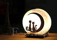 """Соляная лампа, ночник """"Кошка и кот"""""""
