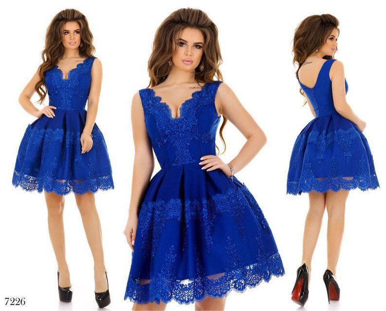 4332103b326 Платье вечернее короткое габардин+кружево+фатин 42