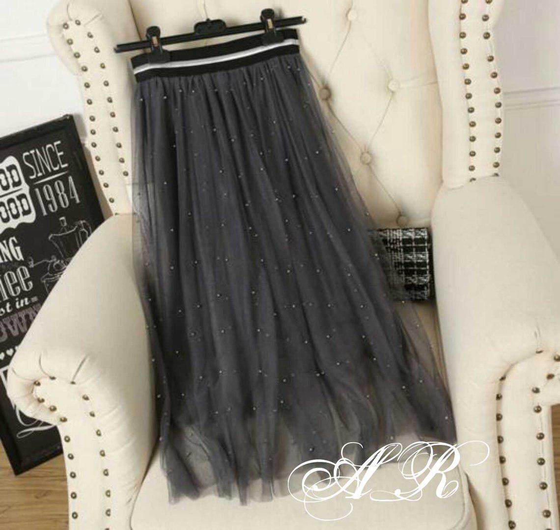 Женская, модная и пышная юбка-миди из фатина декорирована бусинками. РАЗНЫЕ  ЦВЕТА - c6e68baf709