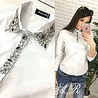 83b7f367a74 Женская блуза декорированная камнями в категории блузки и туники ...