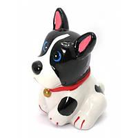 """Копилка """"Собака"""" керамика черно-белая (12х9х9 см)"""