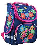 Школьный каркасный рюкзак 1 Вересня smart pg-11 flowers blue (554464)