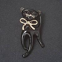 """Брошь """"Черный кот на удачу"""" с бантом , эмаль, цвет металла """"золото"""" 5,3см Код:574796784"""