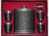 NF4-10 Подарочный набор с флягой + лейка + 4 стопки , Фляга из нержавейки 540 мл, Фляжка на подарок