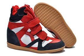 Женские сникерсы Isabel Marant Sneakers Blue White Red Winter (С МЕХОМ)