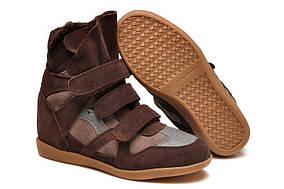 Женские сникерсы Isabel Marant Sneakers Brown Winter (С МЕХОМ)