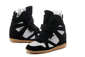 Женские сникерсы Isabel Marant Sneakers White Black Winter (С МЕХОМ)
