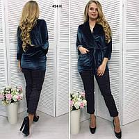 Бархатный женский пиджак 494 Н Код:650583155