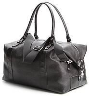 Спортивная - дорожная сумка из натуральной кожи в итальянском стиле черного цвета SHVIGEL 00881