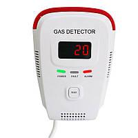 Голосовое предупреждение и цифровое Дисплей Plug-in с горючим датчиком детектора природного газа Портативный LPG LNG Gas Leak Датчик тестер