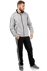 Мужской спортивный костюм трикотажный серый черный с лампасами Турция