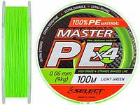 Шнур плетёный Master PE 100м 0.06mm 9кг (салатовый)