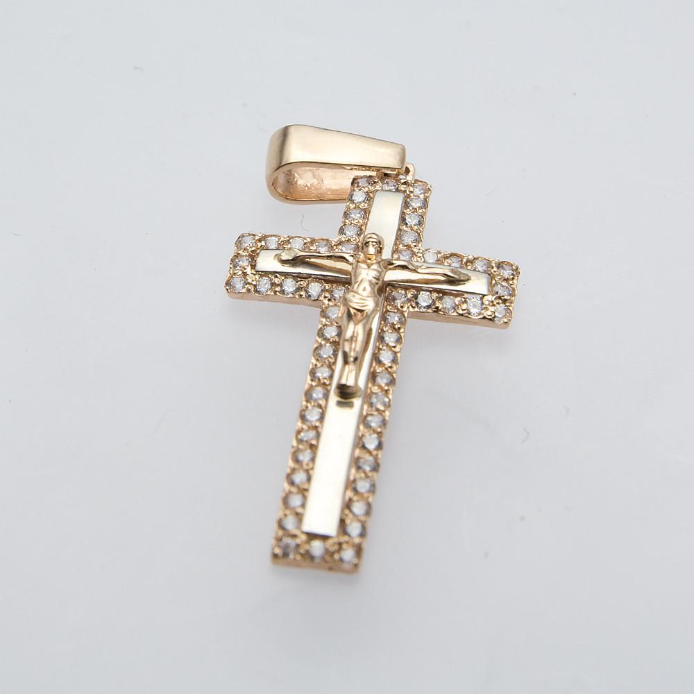 Золотой крестик с фианитами.П03077