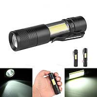 XANES3504XPE-Q5+COB600Lumens Zoomable Mini LED Фонарик аварийный контрольный светильник AA/14500