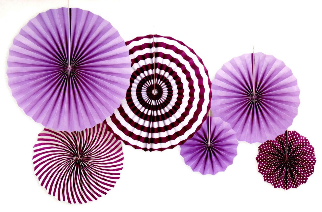 """Набор бумажных вееров """"Фиолетовые"""". 6 штук."""