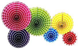 """Набор бумажных вееров """"Цветные"""". 6 штук."""