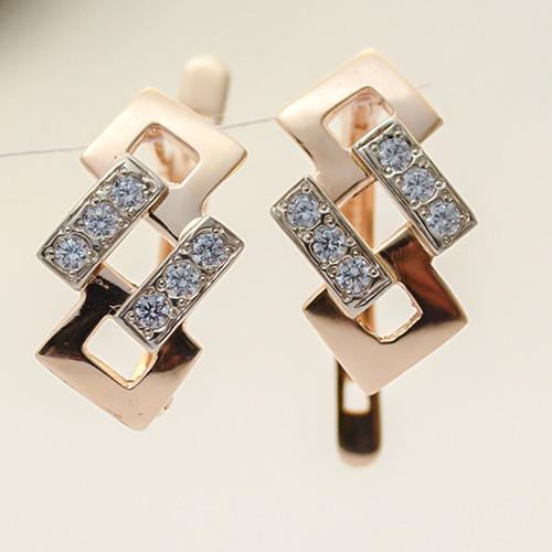 Золотые серьги с фианитами. СП20491