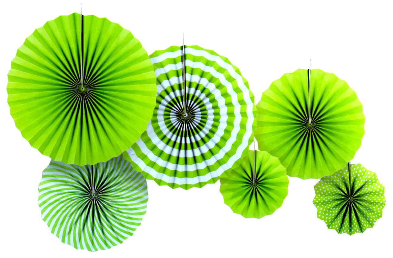 """Набор бумажных вееров """"Зелёные"""". 6 штук."""