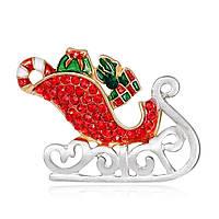 MloveAcc Enamel Santa Claus Sleigh Авто с подарками Броши кристалл Hijab Pins Рождественский подарок Женское Детская брошь